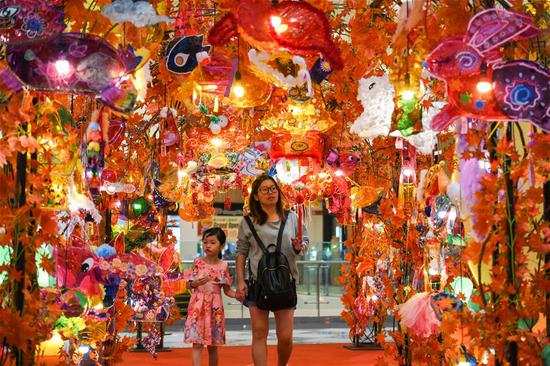 Mall decorated with lanterns to celebrate Mid-Autumn Festival in Malaysia