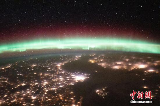 Stunning auroras seen from the Space Station