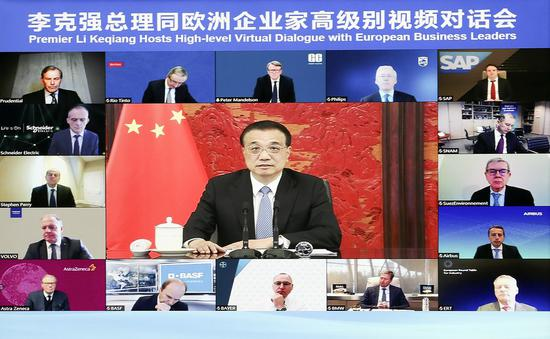 Chinese premier hosts high-level virtual dialogue with European business leaders